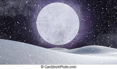 Animation of winter scenery with snow falling and full moon