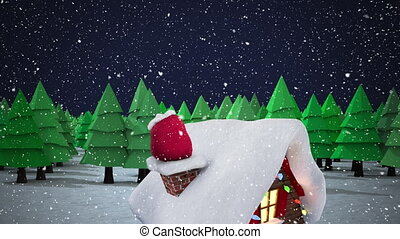 Animation of winter scenery with snow falling