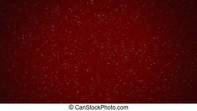 Animation of winter scenery with snow falling on red background