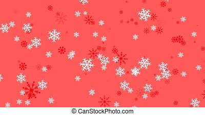 Animation of winter scenery with snowflakes falling on red background