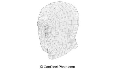Animation of wire frame mans head. 3d illustration. Technology concept