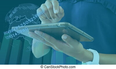 Animation of woman using a digital tablet in an office with globe spinning