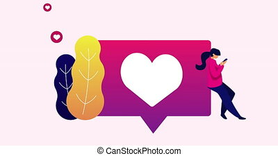 Animation of woman using smartphone leaning on heart icon. connection communication social networking concept digitally generated image.