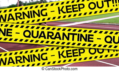 Animation of word Quarantine with runner in background