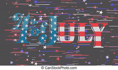 Animation of words 4th of July with white, red and blue stars and stripes floating on black background. United States of America presidential election democracy holiday concept digital composition