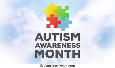 Animation of words Autism Awareness Month over clouds on ...