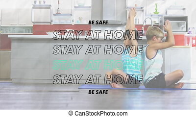 Animation of words Be Safe Stay At Home flashing over two ...