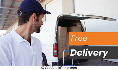 Animation of words Free Delivery written in white on orange and grey banners with male van drive