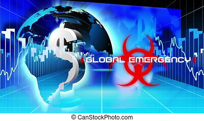 Animation of words global emergency on red hazard sign with American dollar sign over globe spinning