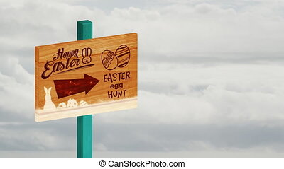 Animation of handwritten words Happy Easter and Easter Egg Hunt with arrow and eggs on wooden board, grey clouds moving fast in seamless loop over sky in repetitive motion in the background. Information Easter and repetition time lapse concept digitally generated image.