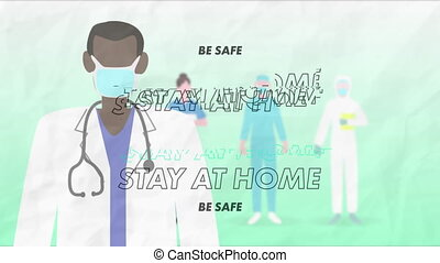 Animation of words Stay At Home and Be Safe flashing over ...