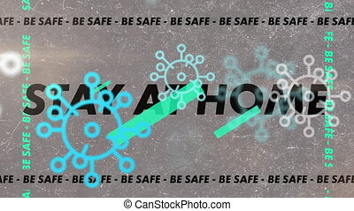 Animation of words Stay At Home Be Safe flashing and making ...