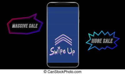 Animation of words Swipe Up flickering on a screen of a smartphone with two speech bubbles on black