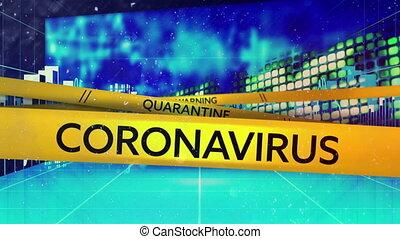 Animation of words Warning Quarantine Coronavirus on yellow ...