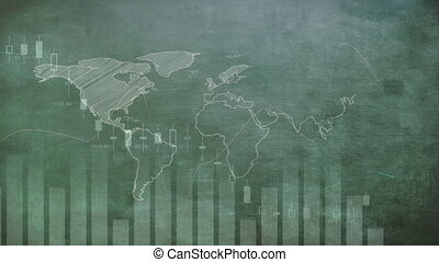 Animation of world map over stock market display in the background