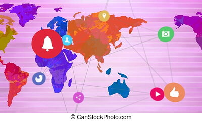 Animation of world map with network of connections