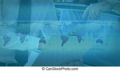 Animation of world maps rolling over two Caucasian men discussing over paperwork