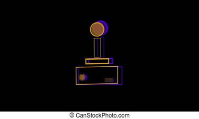 Animation of a purple outline of a beaming video game controller buffer with play buttons pulsating and throbbing on blue background. Digital technology and entertainment concept.