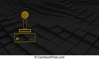 Animation of a purple outline of a video game controller buffer with play buttons pulsating and throbbing on dark grey waving background. Digital technology and entertainment concept.