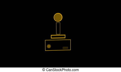 Animation of an orange outline of a video game controller with play buttons pulsating and throbbing on black background. Digital technology and entertainment concept.