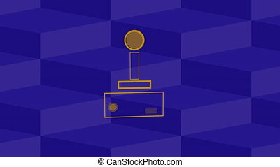 Animation of a purple outline of a video game controller buffer with play buttons pulsating and throbbing on cube patterned purple background. Digital technology and entertainment concept.