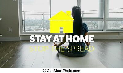 Animation of yellow house with social distancing message over Caucasian woman meditating