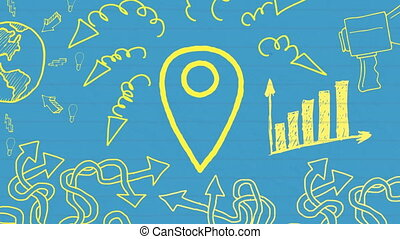 Animation of yellow outlined location pin icon hand drawn ...