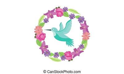animation, oiseau, beautifull, fleurs, voler