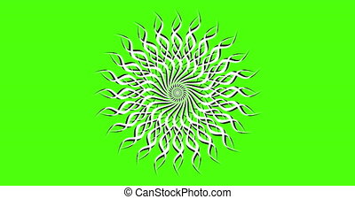 Animation on a green background. Green background for chromakey. Video animation element in black white.