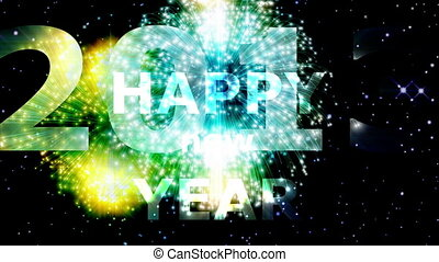 Animation on Silvester - Fireworks and Happy New Year 2013 letters