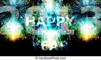 Happy New Year 2013 - Animation on Silvester - Fireworks and...