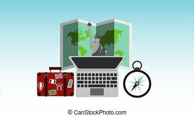 animation, ordinateur portatif, articles, voyage