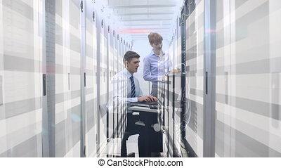 animation, ordinateurs, gens, fonctionnement