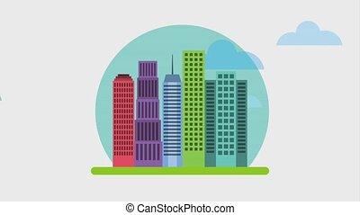 animation panoramic icon - animation panoramic buildings...