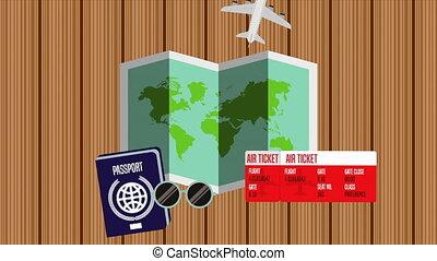 animation, papier, articles, carte, voyage