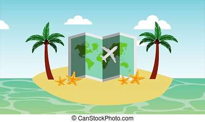 animation, papier, carte, plage, marine