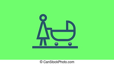 animation pictogram mother with baby stroller. 4k loop...
