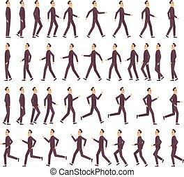 animation, plat, jeûne, courant, vecteur, caractère, profil, jeu, 2d, homme affaires, dessin animé, keyframe, vue, lutin, côté, man.