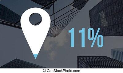 animation, pourcentage, emplacement, bâtiments, fond, icône