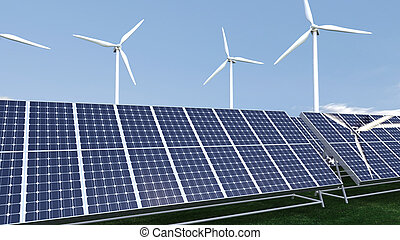Animation presenting a field of photovoltaic panel in high...