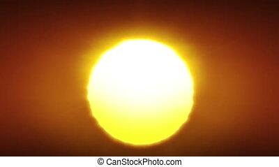 animation., propre, levers de soleil, fait boucle