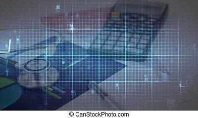 animation, pulsation, stéthoscope, moniteur, sur, grille ...