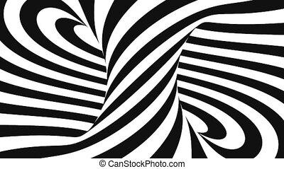 animation, résumé, spirale, rendre, arrière-plan noir, blanc, 3d