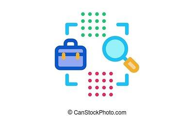 animation, recherche, icône, cas, business