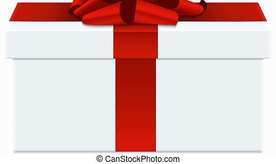 animation red bow with white gift box.