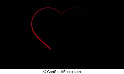 Animation red heart on black