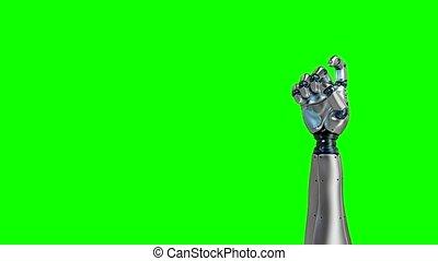 animation., robot, main, 1, 5., 4k, alpha, dénombrement, canal, 3d