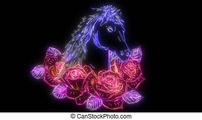 animation, roses, cheval