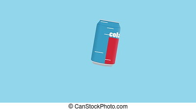 can of cola in flat icon style - animation rotation and...