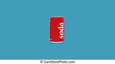 rotation can of cola in flat icon style - animation rotation...
